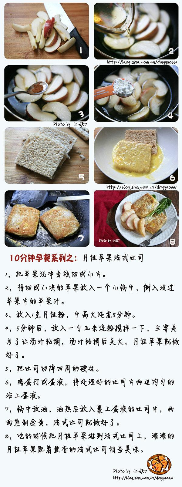 10分钟早餐系列【11】能够预防感冒的月桂苹果法式吐司[小妖7]