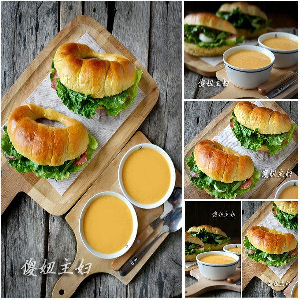 (早餐系生活3)芒果牛角汉堡的做法/南瓜奶油浓汤的做法[傻妞主妇]