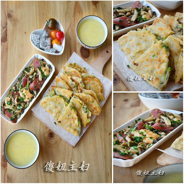 (早餐系生活5)葱油饼的做法/虾菇菜的做法/小米山药粥的做法[傻妞主妇]