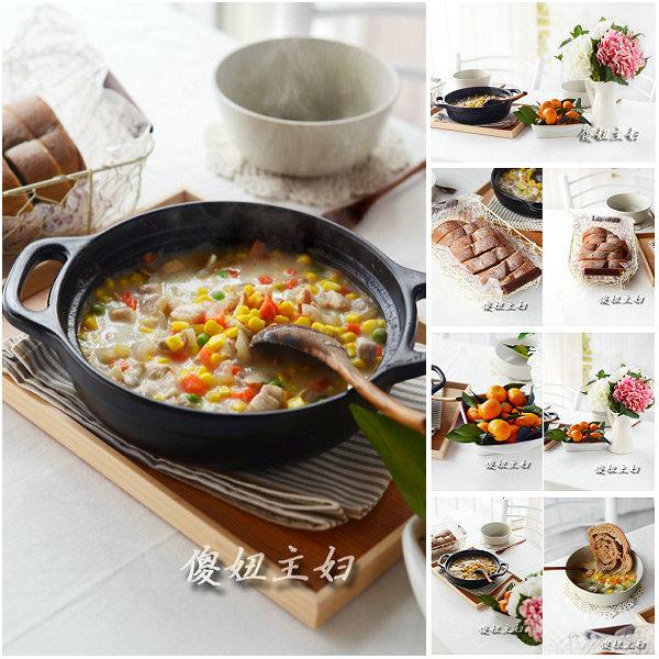 (早餐系生活33)杂蔬鸡肉浓汤的做法/黑麦提子软欧包的做法[傻妞主妇]