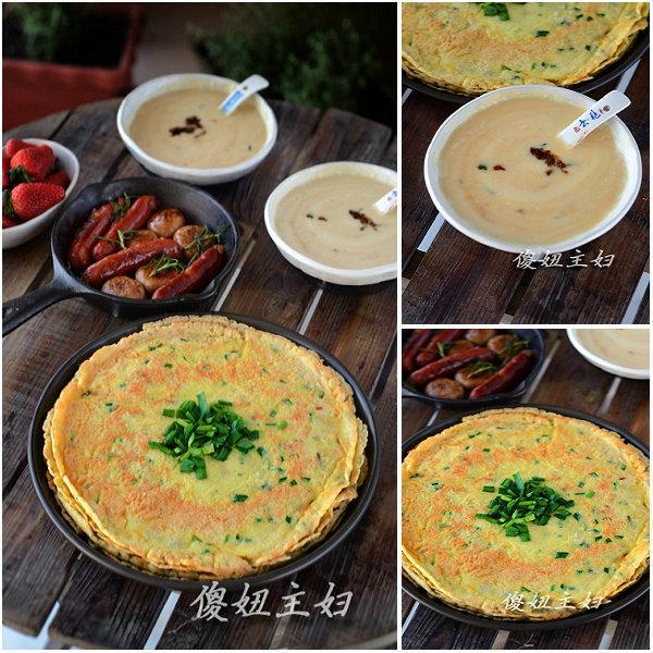(早餐系生活36)虾米韭菜糯米煎饼的做法/咸米浆的做法/煎肠菇的做法[傻妞主妇]