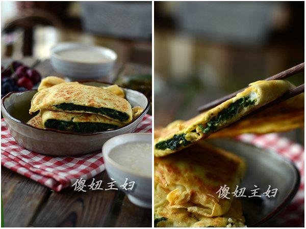 (早餐系生活38)煎饼菠菜盒子的做法/薏米燕麦粥的做法/凉拌海带丝的做法[傻妞主妇]