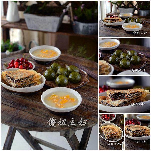 (早餐系生活40)五仁合饼的做法/咸蛋黄肉松青团的做法/小米南瓜粥的做法[傻妞主妇]