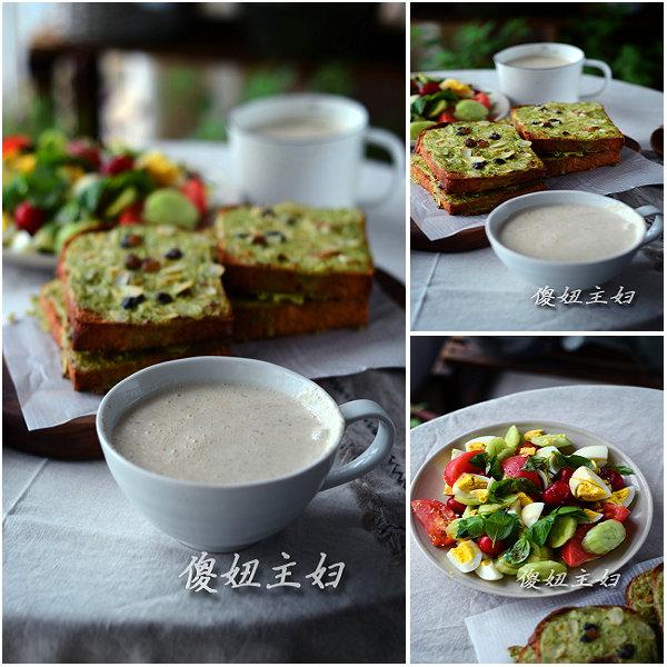 (早餐系生活43)抹茶岩烧吐司的做法/油醋沙拉的做法/核桃奶的做法[傻妞主妇]