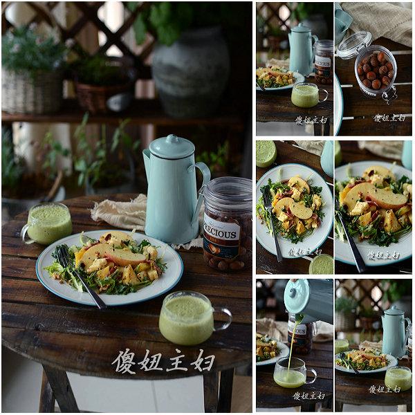 (早餐系生活45)苹果凤梨乳酪沙拉的做法/优格蔬果汁的做法[傻妞主妇]