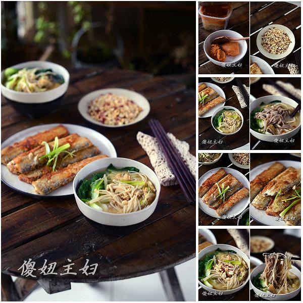 (早餐系生活46)味噌荞麦面的做法/煎带鱼的做法/烤花生碎的做法[傻妞主妇]