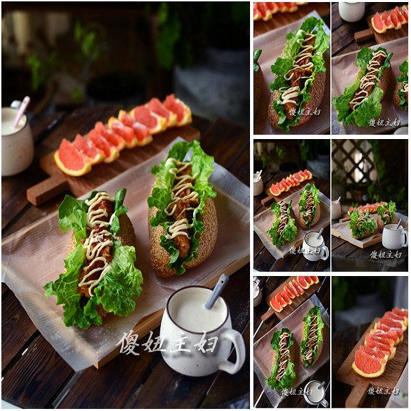 (早餐系生活48)鸡肉三明治的做法/香蕉坚果浆的做法[傻妞主妇]