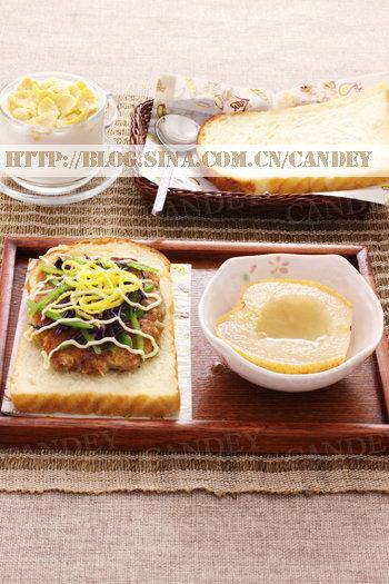 (每日小学生早餐)煎肉排的做法/蔬菜沙拉的做法/冰糖蒸梨的做法[CANDEY]