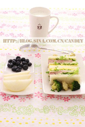 (每日小学生早餐)三明治的做法/拌双花的做法[CANDEY]