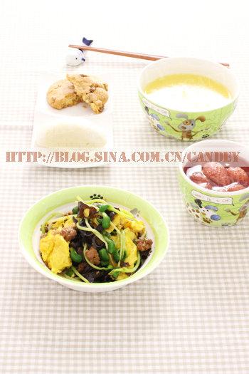 (每日小学生早餐)玉米粥的做法/馒头片的做法/肉末豌豆芽木耳炒蛋的做法[CANDEY]