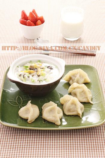 (每日小学生早餐)蛤蜊菜粥的做法/水煎饺的做法[CANDEY]