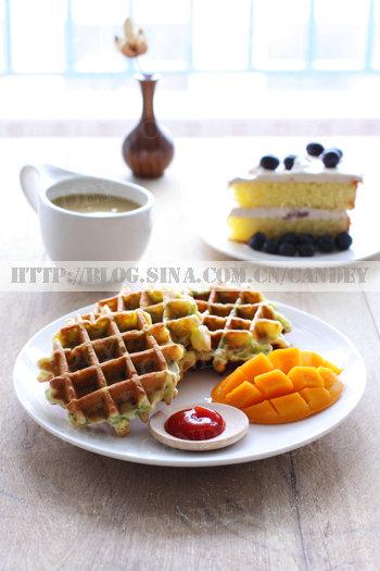 (每日小学生早餐)薏米绿豆浆的做法/格子松饼的做法/蓝莓奶油蛋糕的做法[CANDEY]