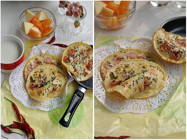 脆皮热狗肠蛋饼的做法/花生豆浆的做法/水果拼的做法[籁籁]