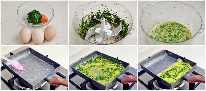 菠菜厚蛋烧的做法