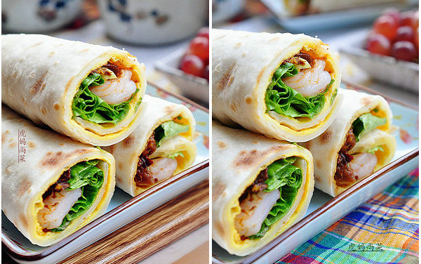 虾仁蛋饼卷的做法-早餐卷