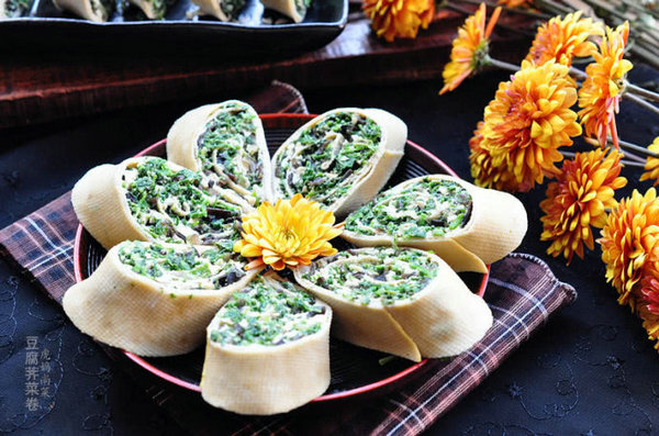 豆腐荠菜卷的做法